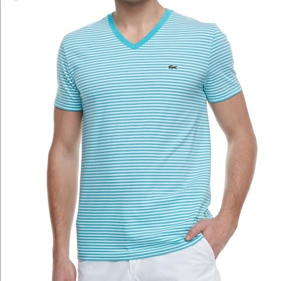 31632d271c Lacoste Men's Aqua and White Striped V-Neck Shirt